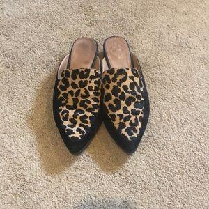 Halogen cheetah print mules